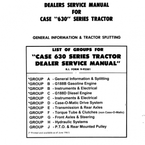 Case 630 Series Tractor Service Manual
