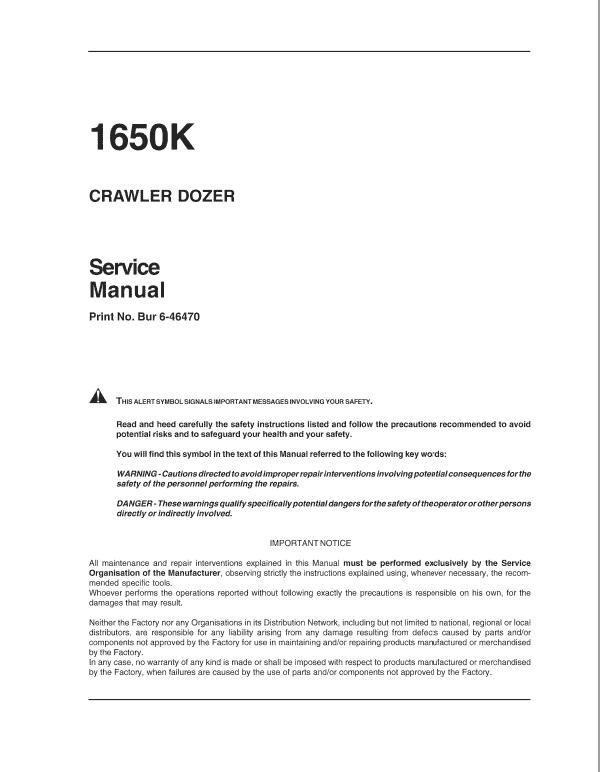 Case 1650K Crawler Dozer Service Manual