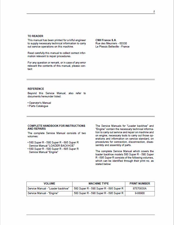 Case 580, 590, 695 Super R Backhoe Loader Service Manual
