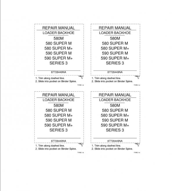 Case 580, 590, Super M and Super M Plus Series 3 Backhoe Manual
