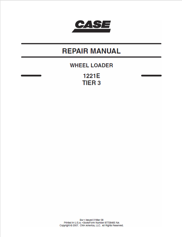 Case 1221E Wheel Loader Service Manual