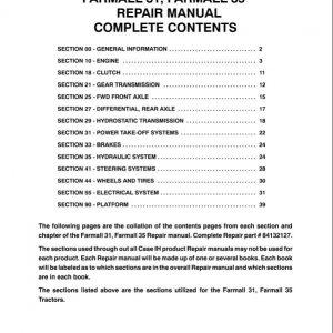 Case Farmall 31, 35 Tractor Service Manual