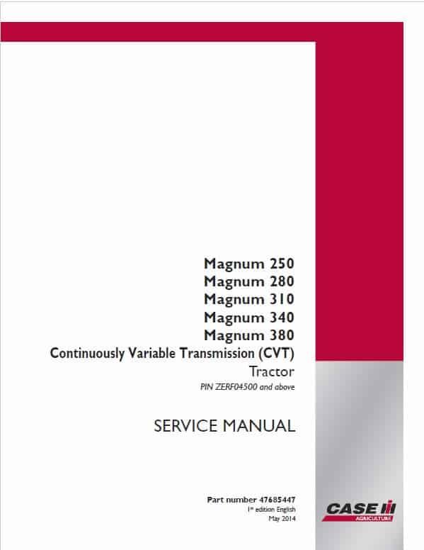 Case 250, 280, 310, 340, 380 Magnum Tractor Service Manual