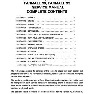 Case Farmall 70, 80, 90, 95 Tractor Service Manual
